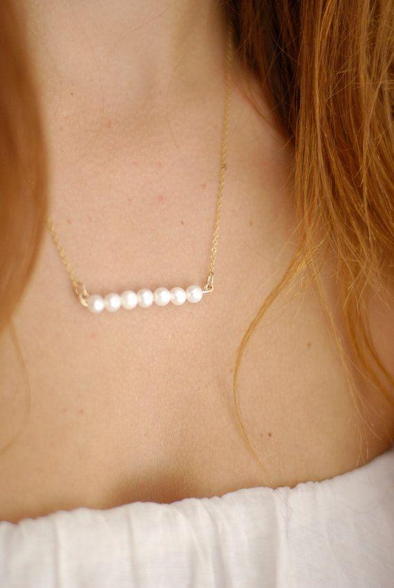 Bande de perles sur or rempli, moderne collier en or, collier mariée, cadeau pour demoiselles d'honneur-fait main