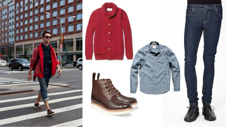 Un look mai neconvențional, blugi slim fit Cheap Monday Tight Very Stretch Onewash http://blog.superjeans.ro/2012/10/cardiganul-cum-sa-il-porti-cu-jeansi-pentru-un-stil-casual-smart/superjeans.ro/barbati/barbati-blugi/blugi-barbati-cheap-monday-tight-very-stretch-onewash.html , cu cardigan colorat, cu cămașă din denim Levi's, deschisă la culoare http://superjeans.ro/outlet-1/outlet-barbati/levi-s-64303-1-pkt-workwear-shirt-rinse.html și bocanci maro.