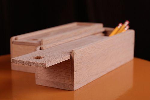 wooden sliding pencil case