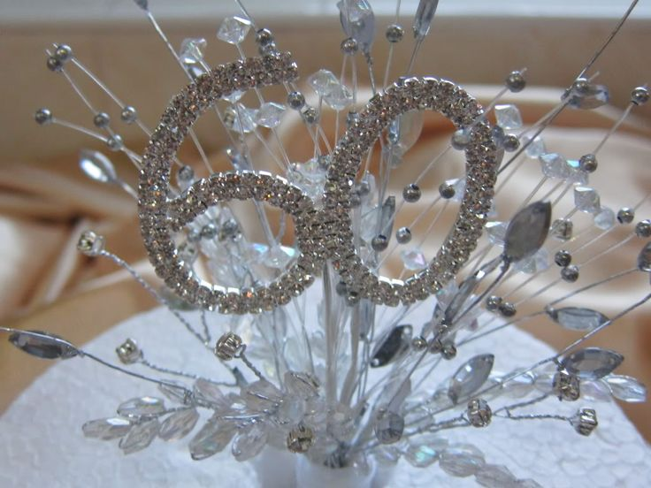 homemade 60th wedding anniversary decorations | Each one is mounted on a hygenic cake spike that you simply push into ...