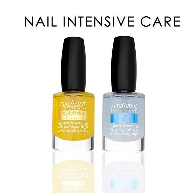 Stop snipping cuticles! Instead push them back and moisturize them with Nurishing Oil and Vitamin Force, for healthy beautiful nails. #radiantprofessional #manimonday #nailtreatment #nails #essentials