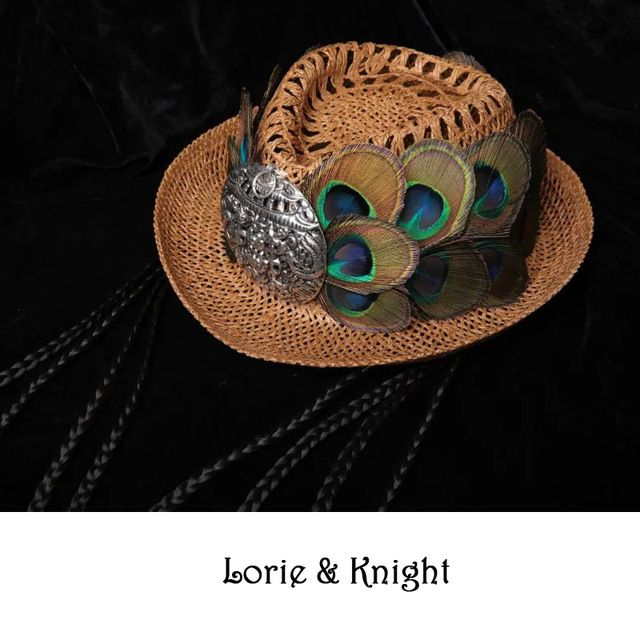 Handmade Peacock Feather & Chinese Ethnic Minority MIAO's Silver Cowboy Straw Bowler Hat with Braided Rope #lorie&knight #Cowboy_Hats #women_clothing #stylish_Cowboy_Hats #style #fashion