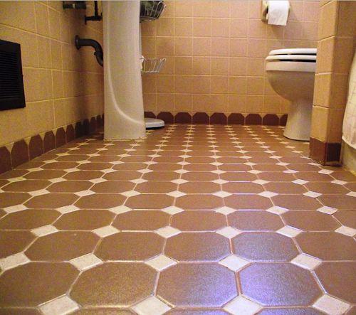 Octagon And Dot Tile Creates Scalloped Edges A Terrific Bathroom Design Idea
