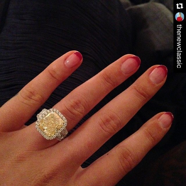 Iggy Azalea just said yes to this beautiful fancy yellow diamond ring! #Repost @thenewclassic ・・・ Happiest Day #Isaidyes