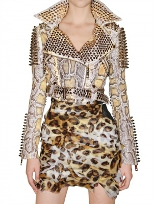Studded python jacket and leopard print skirt