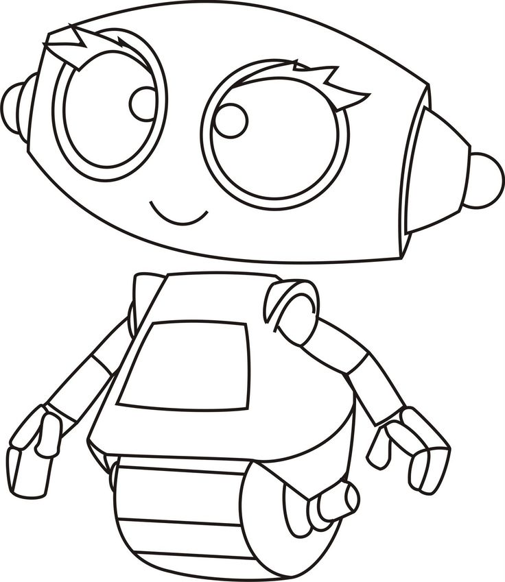 Simple Robot Coloring Page For Kids