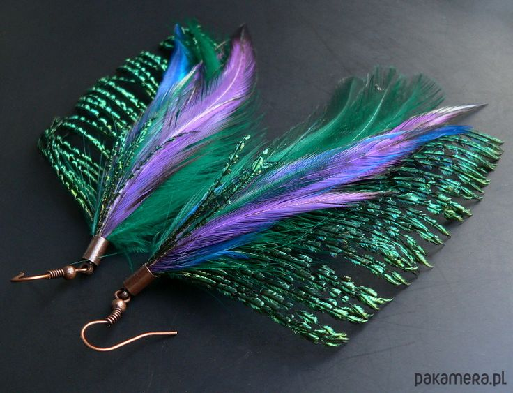 kolczyki - pióra-pawie motyle fioletowe