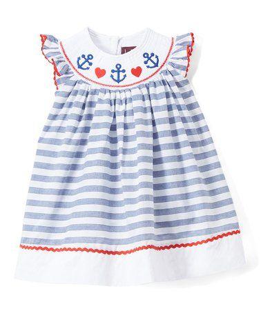 27374e7177e9 Loving this Blue & White Stripe Anchor Smocked Angel-Sleeve Dress - Infant,  Toddler & Girls on #zulily! #zulilyfinds