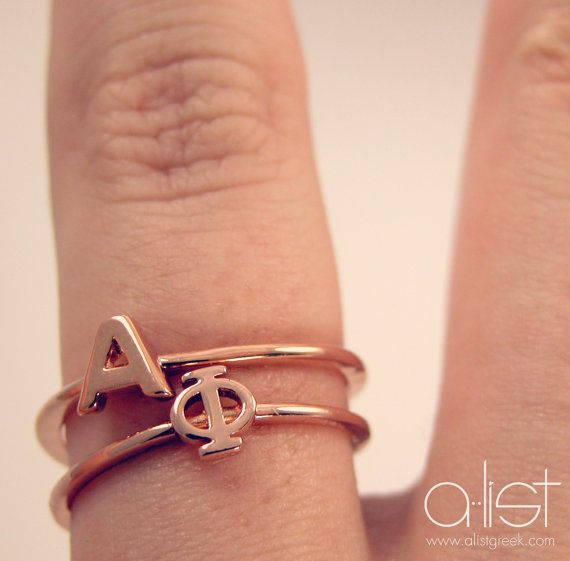 Alpha Phi Stack Ring by AListGreekDesigns on Etsy