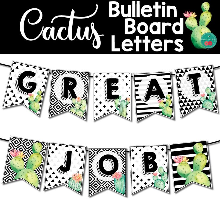 Cactus bulletin board letters printable classroom door