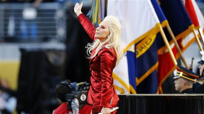 Lady Gaga performs during Super Bowl 50 between the Denver Broncos and the Carolina Panthers at Levi's Stadium on February 7, 2016 in Santa Clara, California.