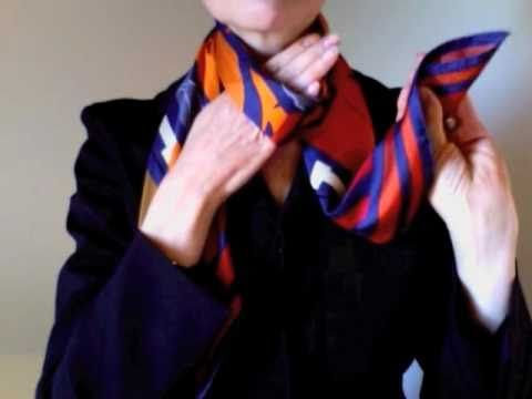 How-to wear scarves - Hermes scarf in a weave knot***