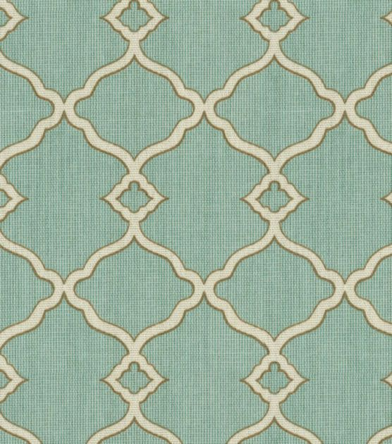 Possible Fabric for Dinette Cushion Covers? | Waverly Sun N Shade Outdoor Fabric-Chippendale Fretwork Mineral