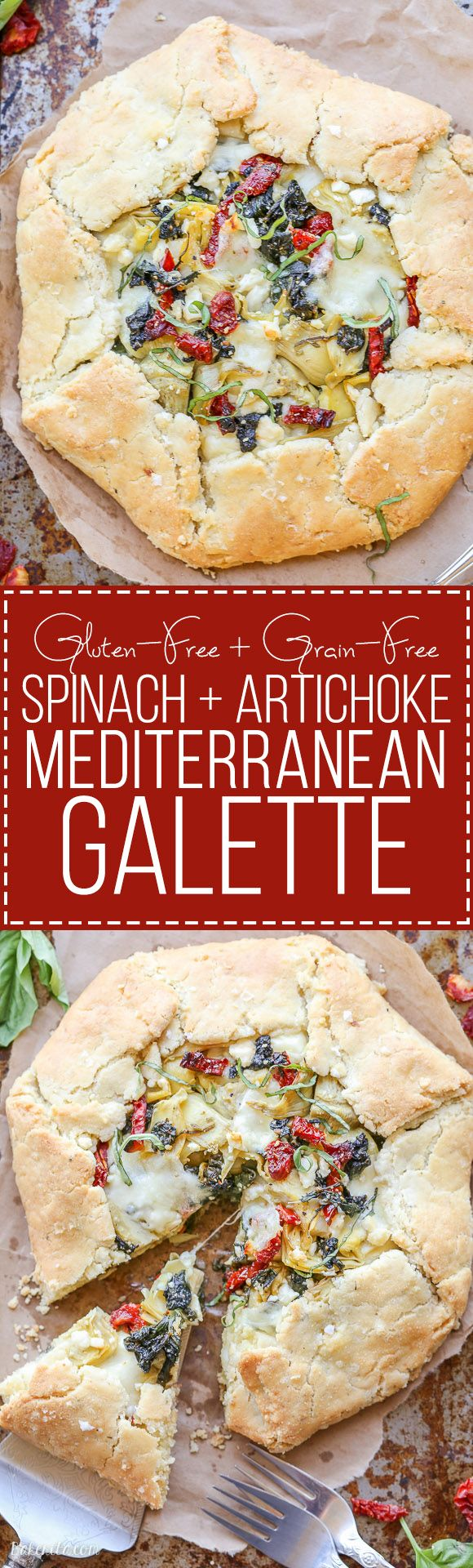 This Spinach + Artichoke Mediterranean Galette has sun-dried tomatoes, artichoke hearts, feta cheese, and gooey mozzarella tucked into a flaky gluten-free and grain-free crust. Pair with a side salad for the perfect lunch or dinner.