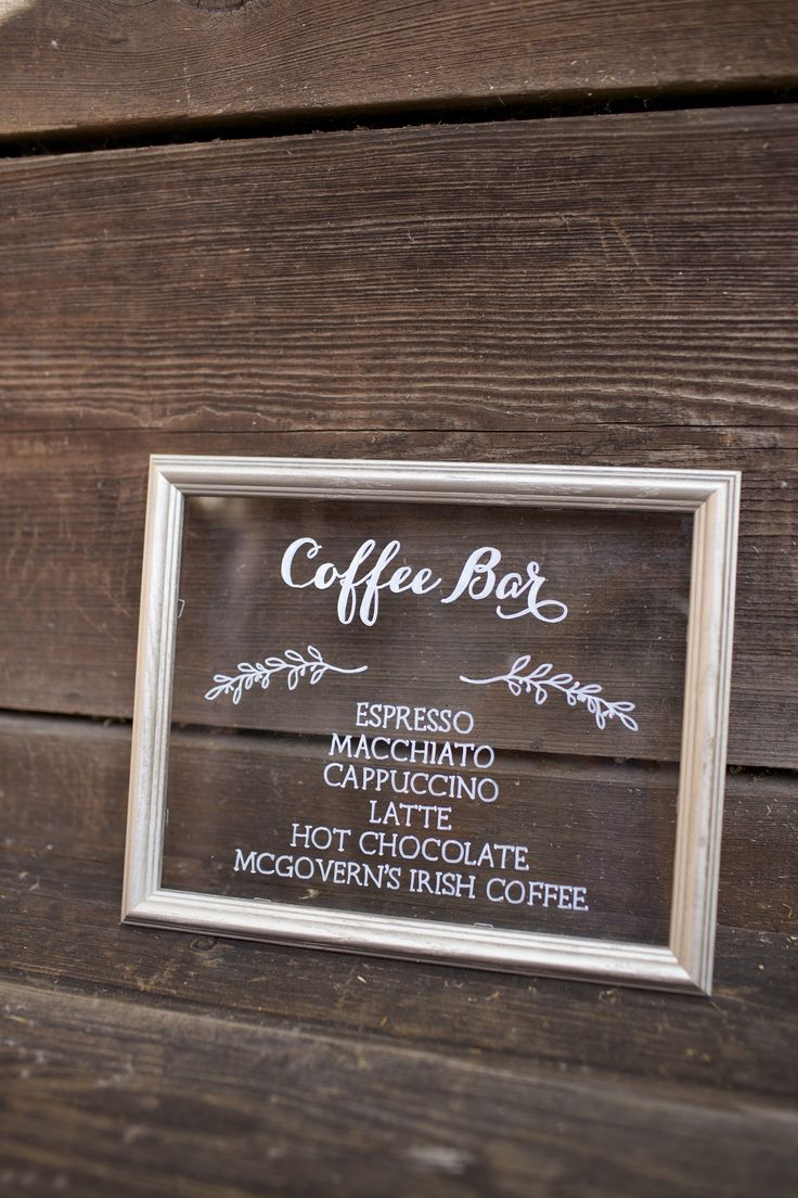 """Coffee bar sign on silver 7.5x9.5"""" framed glass, set of 7"""