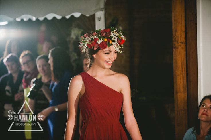 Gorgeous flower crown featuring red roses, white andromeda, cymbidium orchids and cumquats #WFML #flowercrown #francescasflowers
