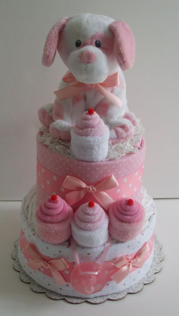Pink Puppy Cupcake Diaper Cake by BountifulBabyCakes on Etsy