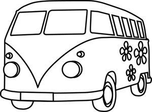 Volkswagen Type 2 Hippie Bus Cars Coloring Pages