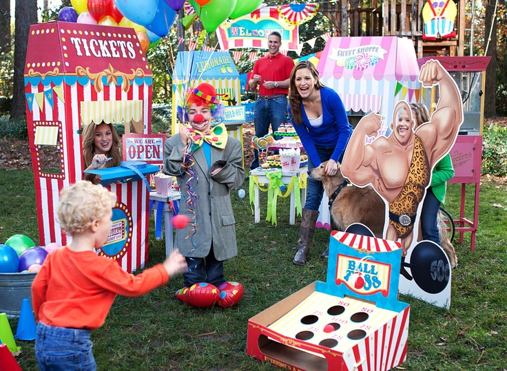 Carnival games party! Ball toss games, ticket booths, strong man photo prop and more. #carnivalparty #BirthdayExpress