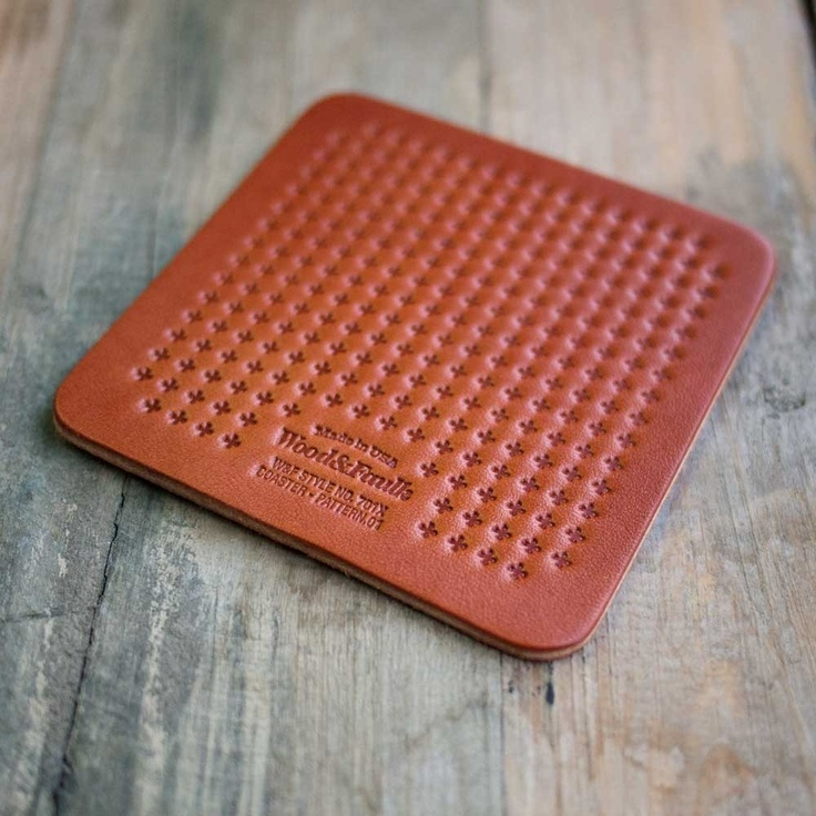 Wood Leather Coaster 4pack