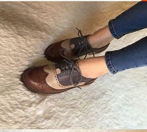 Retro Oxfords Para Mujer Cuero Plano Tacón Bajo Brogues la punta del ala lazada Zapatos De Vestir