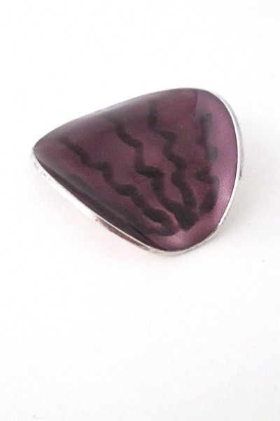 Einar Modahl, Norway - vintage silver and enamel purple brooch