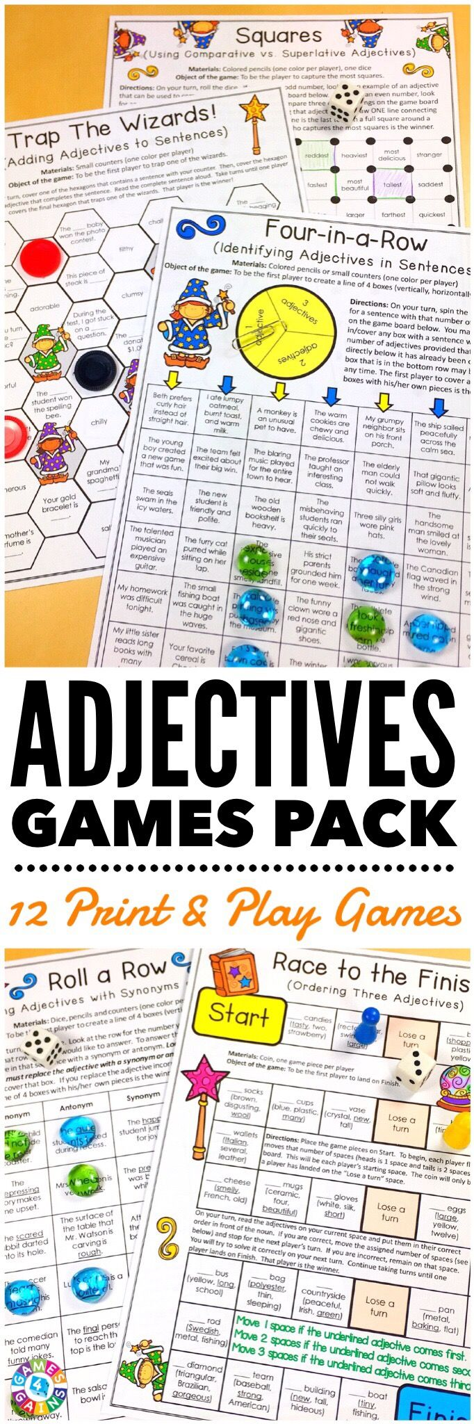 """LOVE these low-prep games! My students have so much fun playing them!"" This Adjectives Games Pack contains 12 fun and engaging printable board games to help students to practice common adjectives, proper adjectives, comparative adjectives, superlative adjectives, and ordering adjectives!"