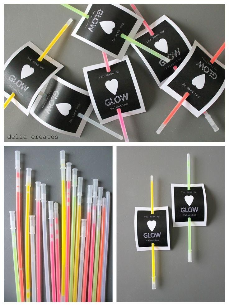 Glow Stick Valentines! Perfect for a V-day bash or last minute prezzie. Shine on!