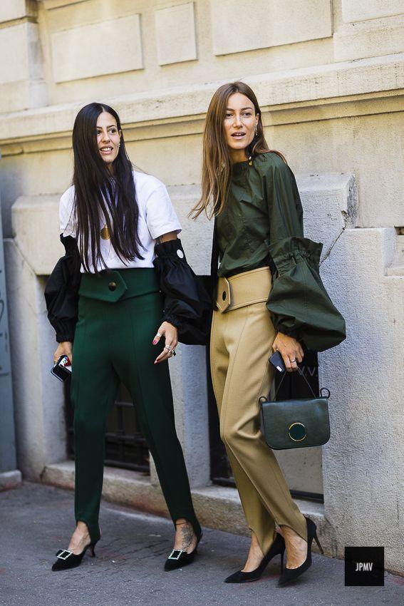 Streetstyle of Gilda Ambrosio and Giorgia Tordini wearing Marni shirts during Milan Fashion Week Spring Summer 2017