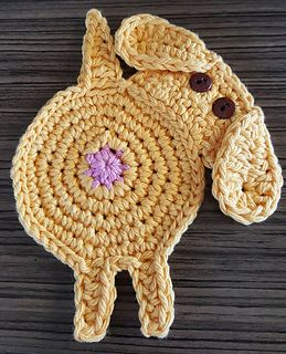Peeking Dog Butt Coaster pattern by Upper Crust Crochet