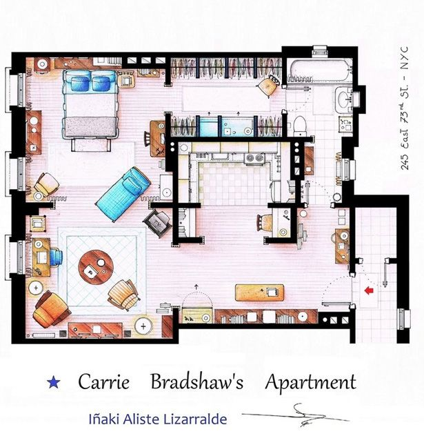 Carrie Bradshw floorplan of her appartment.