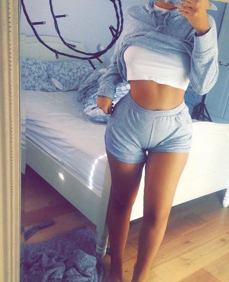 Real girl in boy shorts