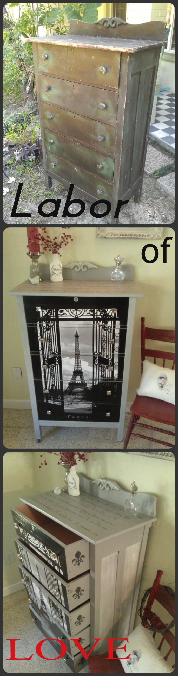 Vintage Tall Boy Chest,Decoupage Furniture,Annie Sloan Paris Grey with French Script and Eiffel Tower. Learn more at Right Up My Alley Design here https://www.etsy.com/listing/222466175/shabby-french-eiffel-tower-chest-dresser?ref=shop_home_feat_3