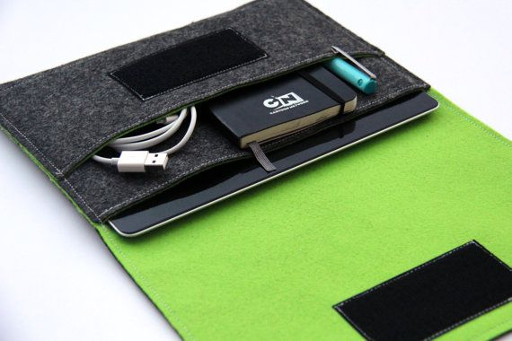 iPad mini Sleeve,iPad mini Case,iPad mini Bag ,iPad mini cover - Dark Gray & Lawn Green - Weird.Old.Snail on Etsy, 225:76kr