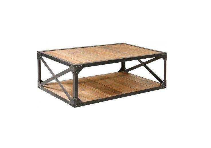 """Table basse design en acier et bois style Industriel Factory, boutique  """"Bois-et-metal-factory """""""
