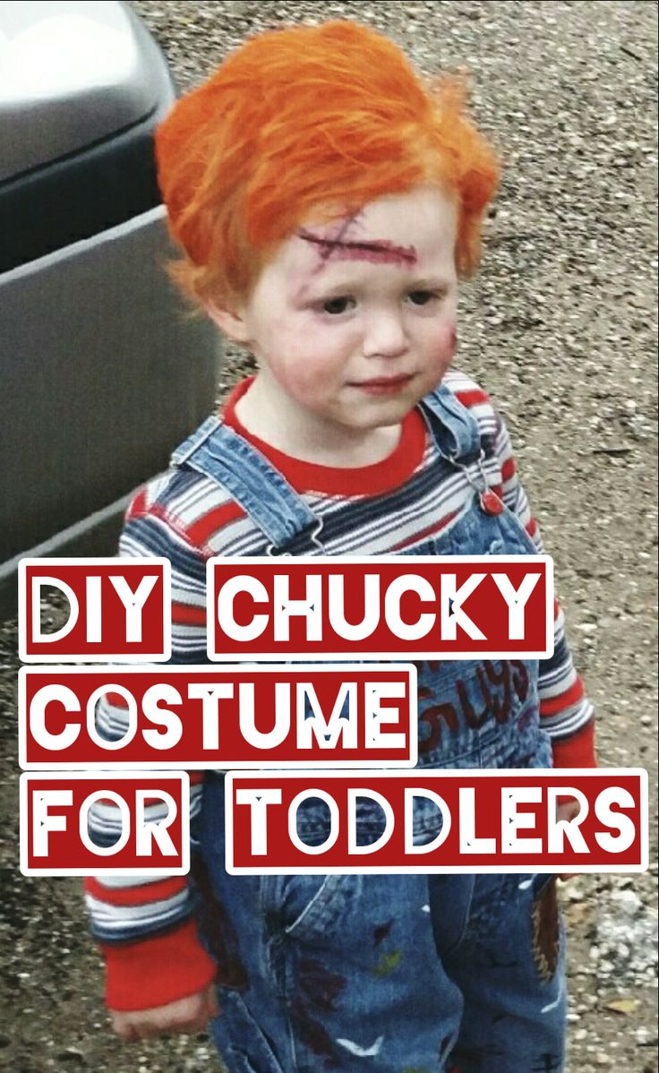 Can't find a unique Halloween Costume for your toddler? Make one for cheap! Learn how to make a DIY Chucky Halloween Costume for toddlers.