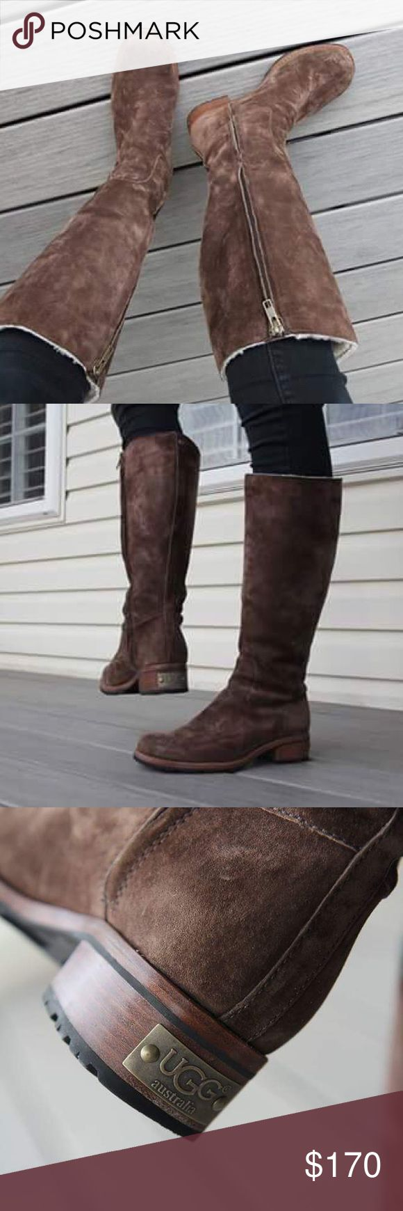 Ugg riding boots Brown ugg riding boots!! Very minimal wear super comfy not tight around calf. Sherpa lining:) UGG Shoes Winter & Rain Boots