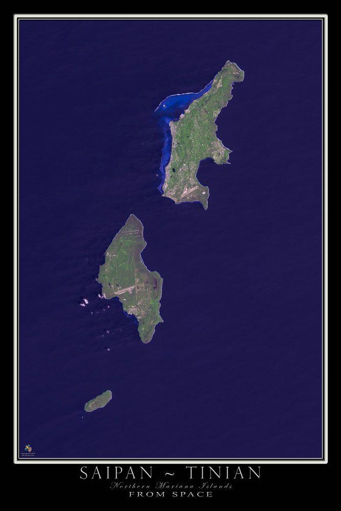 Saipan - Tinian Northern Marianas Satellite Map