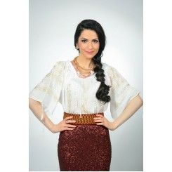 Short Sleeved Embroidered Hand Made Blouse