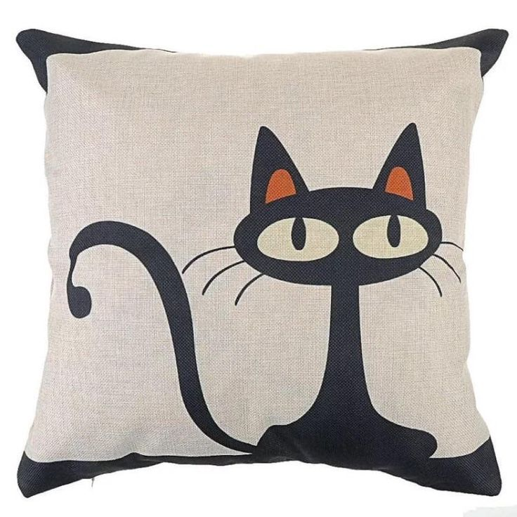 Décor: Throw Pillow Cover ~ Black Cat