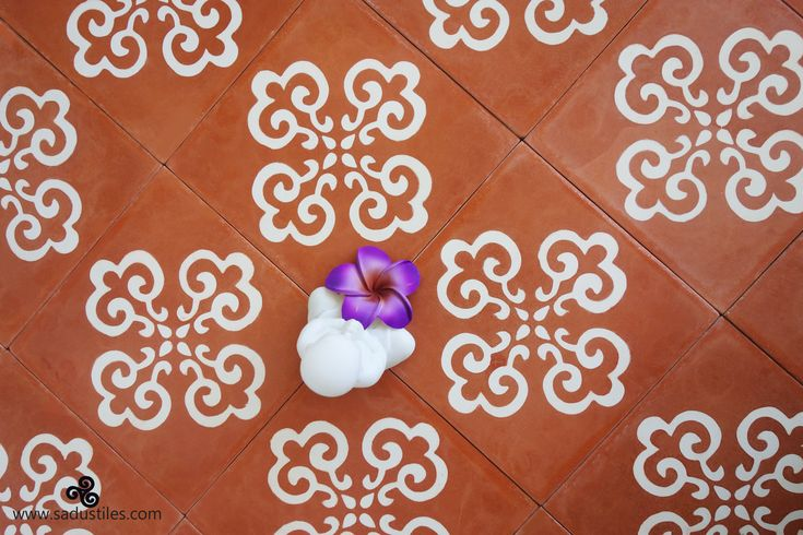 Terracotta color with living white our Sadus Tiles exclusive design S-10 handmade fair-trade cement tiles from Bali