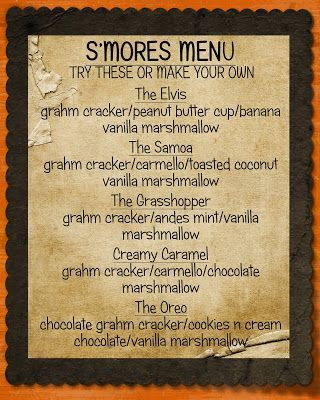 Creative Touch by Krystal : Smore's Bar Menu