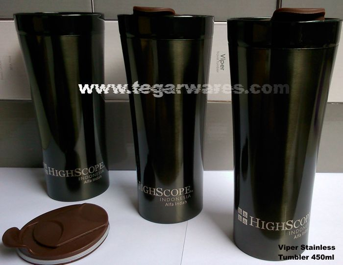 Stainless tumbler type Viper 450ml capacity, the right choice to serve as a school merchandise, new student enrollment as a souvenir, souvenirs competitions or exhibitions and various events are held to celebrate the school year and the new students. As shown above a tumbler Viper ordered by High Scope School Taman Alfa Indah Jakarta Indonesia