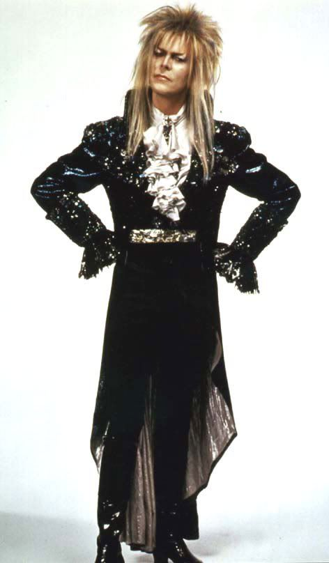 David Bowie, 'Labyrinth'. He looks ridiculous (thanks 80's fashion) & hot because I loved him in 'Labyrinth' as a kid.