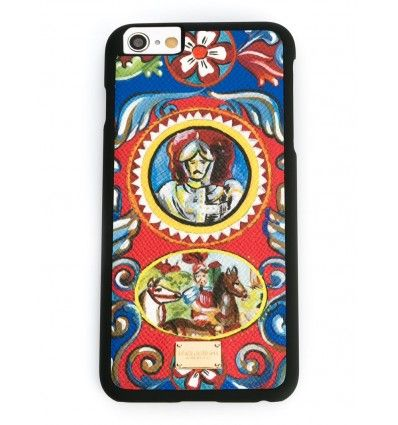 Multicoloured leather Carretto Siciliano print iPhone 6 plus case from Dolce & Gabbana featuring a gold-tone logo plaque.