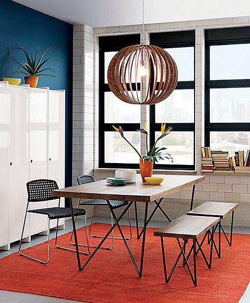Mesa de comedor rectangular de madera y hierro