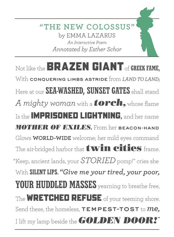 """""""The New Colossus"""" by Emma Lazarus. Known to many as the inscription in the Statue of Liberty's base."""