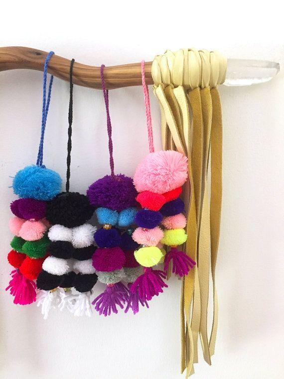 Pom Pom Bag Charms, Summer Swag, Bright Boho Tassel Keychain, Gypsy Style, Easy Summer Fashion Trend, 1 Piece, You Choose Color