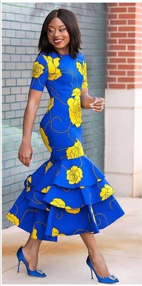 African print midi dress -Ankara dress-Midi dress- dress-Ankara dress with peplum details -African c 15