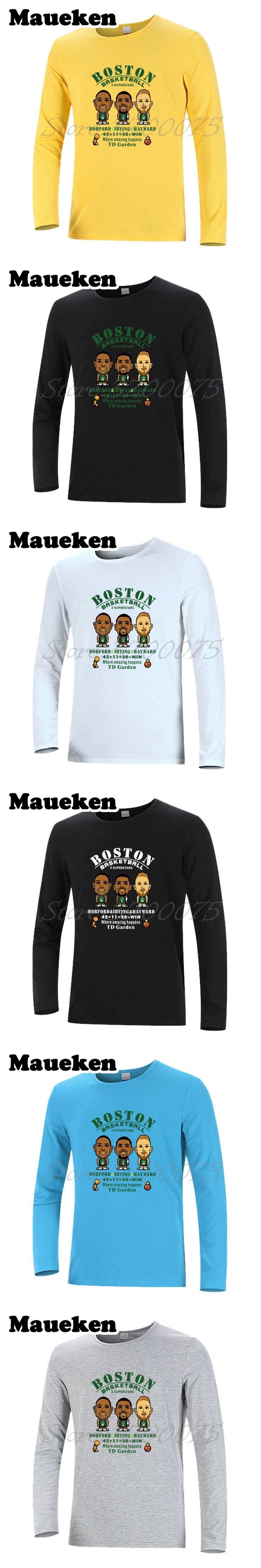 Men Long Sleeve New The Big 3 Superstars Kyrie Irving Gordon Hayward Al Horford boston T-Shirt Clothes T Shirt Men's W17110501